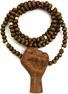 GWOOD Power Fist All Natural Wood Pendant Necklace