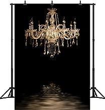 DePhoto 5X7FT(150X210CM) Black Bedroom Gold Chandelier Seamless Vinyl Photography Backdrop Booth Photo Background Studio Prop PGT136A