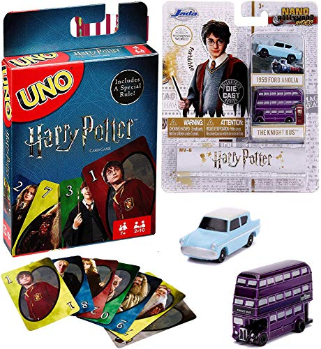 Purple Wizard Bus and Flying Car Collectibles Jada Harry Potter Nano Rides Bundled with Knight Double Decker & Ford Anglia Mini Hollywood Series + Uno Matching Theme Deck Card Game 2 Items