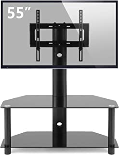 TAVR Glass Floor TV Stand with Swivel Mount and Height Adjustable for 32 37 42 47 50 55 inch Plasma Flat or Curved Screen TVs 2-Tier Tempered Glass Universal Media Storage Stand Black TW1001