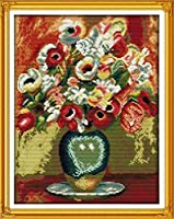 クロスステッチ大人、初心者11ctプレプリントパターン鉢植えの花40x50cm -DIYスタンプ済み刺繍ツールキットホームの装飾手芸い贈り物40x50cm(フレームがない )