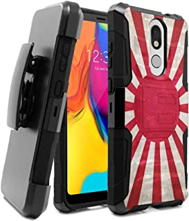 OYU Case Compatible with LG Stylo 5 [Dual Layer Heavy Duty Combat Belt Clip Shockproof Kickstand Holster Black Case Cover] for LG Stylo 5 LM-Q720 (Japan Vintage Flag Rising Sun)