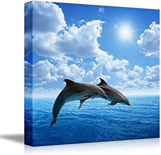 Canvas Prints Wall Art - Two Dolphins Jumping on The Clear Blue Sea/Ocean | Modern Wall Decor/Home Decor Stretched Gallery Canvas Wraps Giclee Print & Ready to Hang - 24