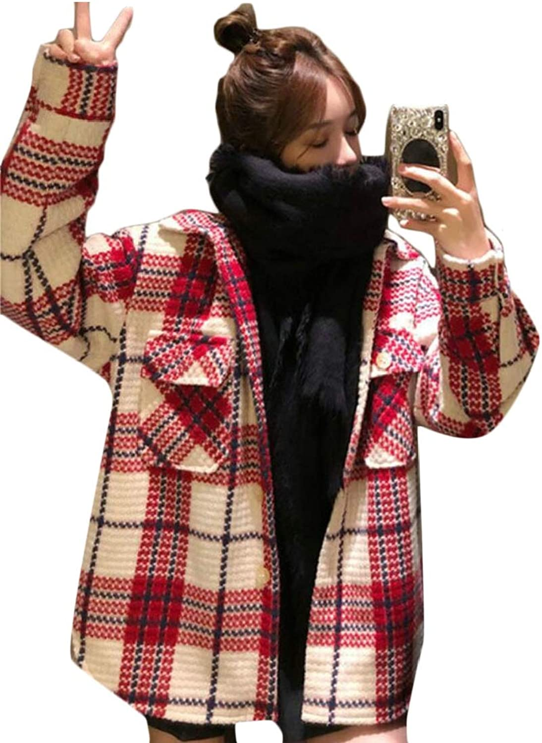 Esast Wome Winter Fashion Outdoor Warm Wool Blended Classic Pea Coat Jackets
