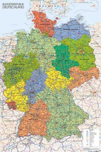 Maps - Germany Map - Landkarten Poster Karten - Grösse 61x91,5 cm