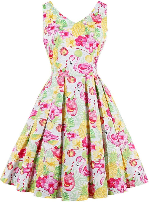 FUZHUANGHM Size Cotton Women Vintage Dress Elegant Summer Flamingo Floral Print Dress V Neck Sleeveless Party Dress
