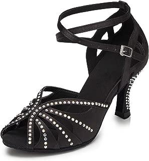 YKXLM Women's Professional Rhinestone Ballroom Wedding Dance Shoes Latin Salsa Performance Practice Dance Shoes,Model USYCL162