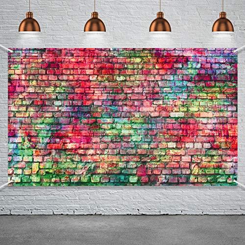 Hip Hop Party Lieferung, Große Stoff Bunte Backstein Mauer Wand Hintergrund für 80 Jahre 90 Jahre Hip Hop Disco Geburtstag Hochzeit Thema Party Neon Hintergrund Dekoration Foto Stand Hintergrund