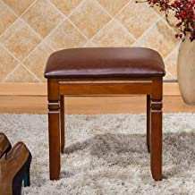 Wood Step Stool Wooden Makeup Vanity Stool PU Leather Square Dressing Table Stool Padded Makeup Seat Piano Chair Retro Sty...