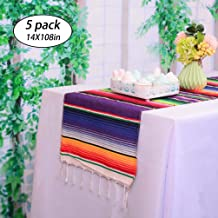 HTFD Mexican Table Runner Serape Table Runner 14x108inch Cotton Table Runner for Mexican Themed Party Mexican Wedding Decoration, Pack of 5