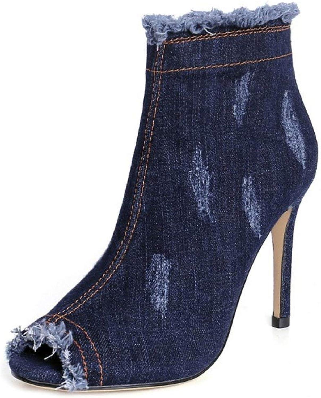 Unm Women Fashion Denim Peep Toe Stiletto Short Boots with Zipper
