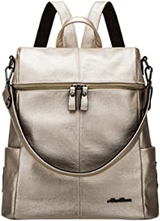 W & L Collection New Leather Casual Daypack Functional Satchel Backpack Shoulder Bag