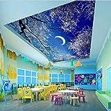 Zybnb Techo Wall Papers Hd Snow Tree Sky Moon Photo Wallpapers Decoración Para El HogarMural 3D Autoadhesivo Vinilo/Seda Wallpaper
