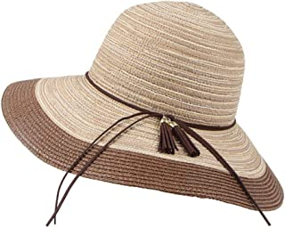SHYPwM-Hats Sun Hats Ladies Wide Brim Foldable Beach Hat UV Protection Straw Cowboy Hat Adjustable Summer Floppy Straw Straw Sun Hats (Color : Brown, Size : 55-58cm)