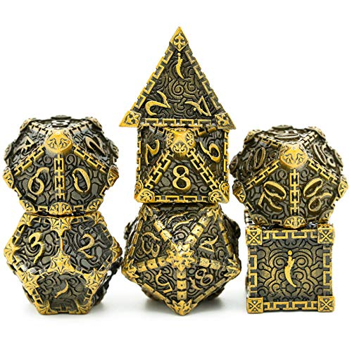 cusdie Metal Dice with Metal Box, 7 PCs DND Metal Dice, Dagger Design Polyhedral Dice Set, for Role Playing Game D&D Dice MTG Pathfinder (Ancient Gold)