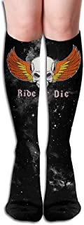 Design Ride Or Die Orange Flag Skull Adult Full Socks Long Socks Knee High Socks