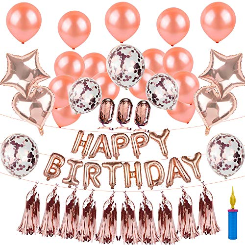 Happy Birthday Balloons with Balloon Pump, Rose Gold Birthday Decorations Banner with 5pcs Confetti Balloons 15pcs Latex Balloons 4pcs Foil Balloon 10pcs Foil Tassel Garland 3pcs Balloon Bands
