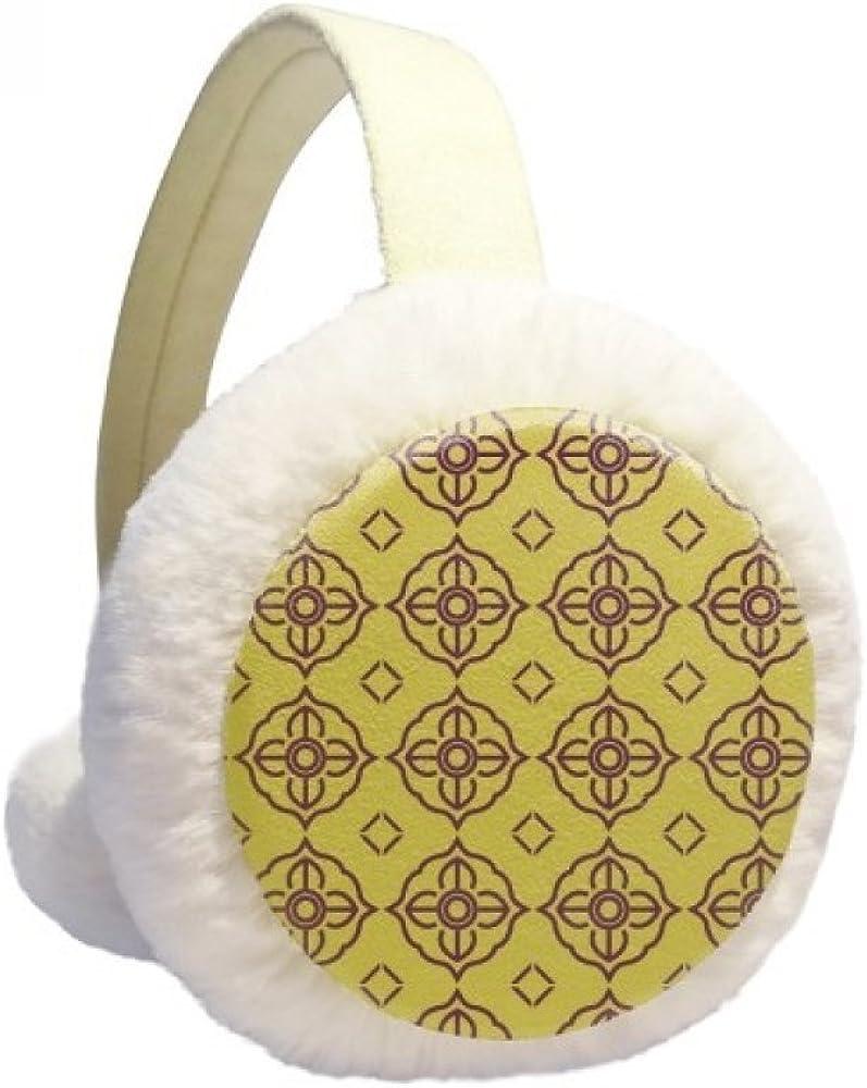 Thailand Golden Purple Decorative Illustration Winter Ear Warmer Cable Knit Furry Fleece Earmuff Outdoor