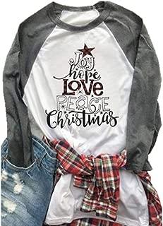 Joy Hope Love Peace Christmas Cute Shirt Women Plaid Letter Graphic Baseball Tees Long Sleeve Raglan Tops