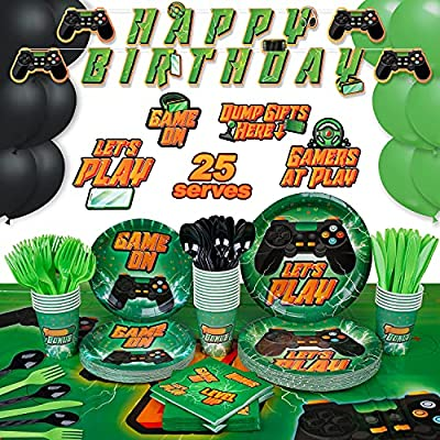 Video Game Party Supplies by Aliza | Boy Teenager Teenage Toddler Kids Birthday Gamer Decorations – Cups Plates Signs Napkins Balloons Tablecloth Utensils – Decorations for Boys and Girls – Serves 25 by Aliza Premium Party Supplies