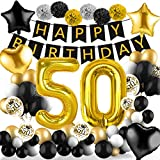 Amteker 50 Geburtstag Deko Schwarzes Gold – 39 Stück Geburtstag Deko, Happy Birthday Banner,...