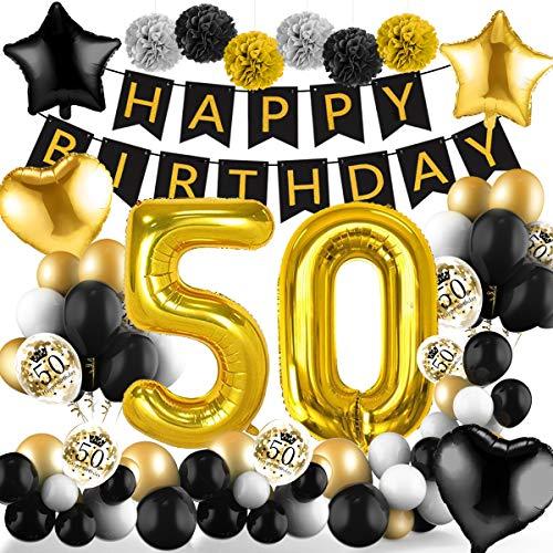 Amteker 50 Geburtstag Deko Schwarzes Gold – 39 Stück Geburtstag Deko, Happy Birthday Banner, Konfetti Luftballons, Riesen Zahl Folienballons, 50. Geburtstag Dekoration für Mädchen und Jungen