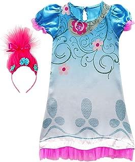 Tutu Dreams Poppy Trolls Princess Dress for Girls with Troll Headband Birthday Halloween Party