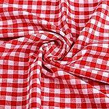 Euvoym 1 m karierter Stoff in Rot und Weiß mit
