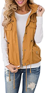 Women's Camo Military Safari Vest Utility Lightweight Sleeveless Hooded Drawstring Jackets with Pocket