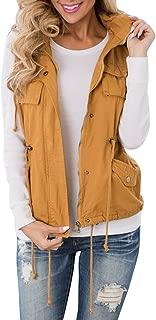 Women's Military Safari Vest Utility Lightweight Sleeveless Camo Hooded Drawstring Jackets with Pocket