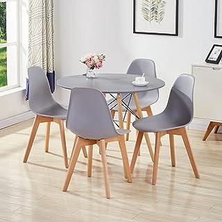 GOLDFAN Table et 4 Chaises Table Ronde Salle Manger Salon Moderne Table de Cuisine en Bois Chaise de Cuisine, Gris