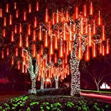 MUEQU Solar Light Outdoor, Waterproof Christmas String Lights Solar LED Meteor Shower Rain Lights Falling Raindrop Light 8Tubes 288LED Fairy Lights for Xmas Tree Garden Party Decor (Red)