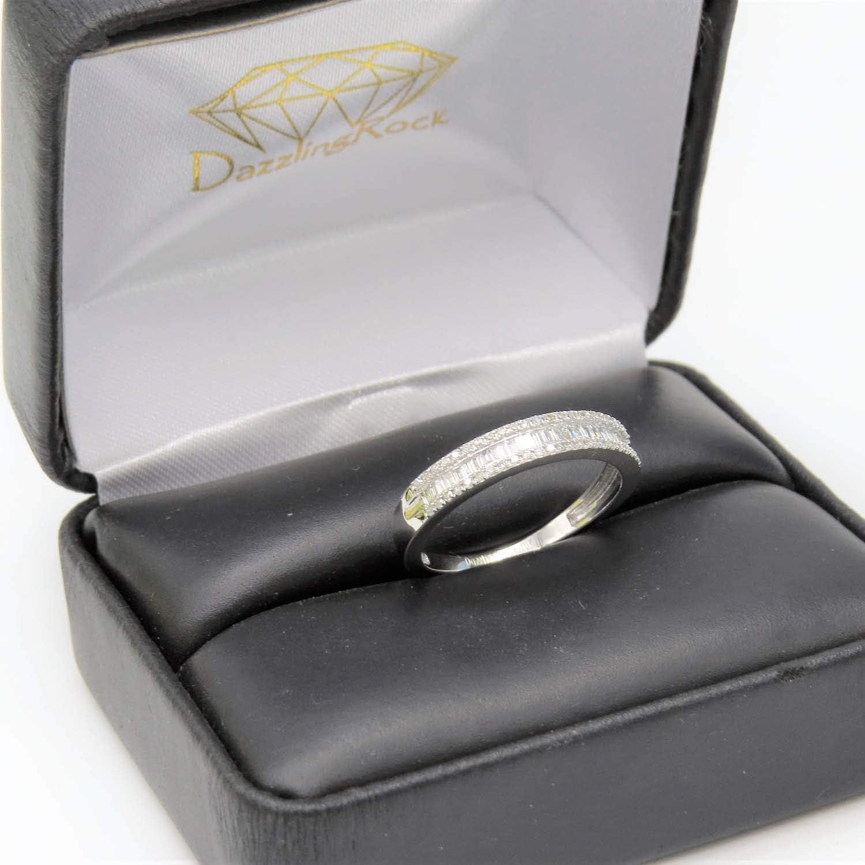 Dazzlingrock Collection 0.30 Carat (ctw) 14K Gold Round & Baguette Diamond Ladies Anniversary Wedding Band 1/3 CT