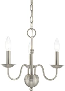 Livex 52163-91 Transitional Three Light Mini Chandelier from Windsor Collection in Pwt, Nckl, B/S, Slvr. Finish, Brushed Nickel