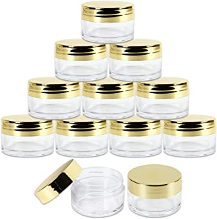 Beauticom 20g/20ml USA Acrylic Round Clear Jars with Lids for Lip Balms, Creams, Make Up, Cosmetics, Samples, Ointments (48 Pieces Jars + Gold Lids)