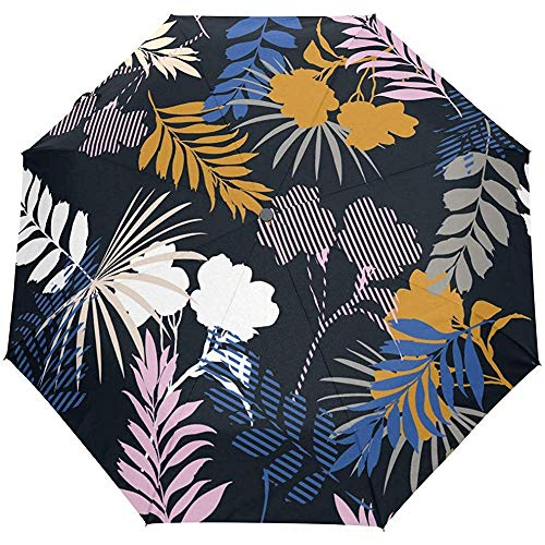 Flower Leaves Tropical Striped Auto Open Paraplu Zonnescherm Zonnescherm Anti-UV Folding Compact Automatische paraplu