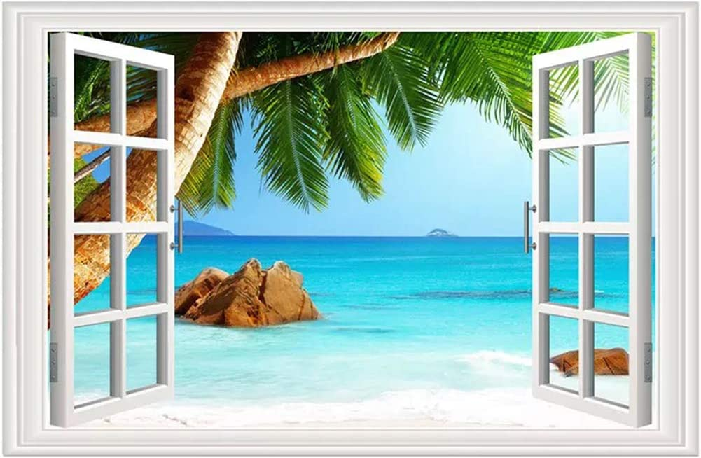 Beach Seascape Fake Window Wall Sticker| Palm Tree Removable 3D Window Wall Vinyl Sticker|Tropical Sea Window View Self-Adhesive Mural Stickers for Bedroom Living Room Decoration (23.6