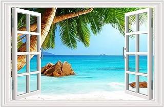 Beach Seascape Fake Window Wall Sticker| Palm Tree Removable 3D Window Wall Vinyl Sticker|Tropical Sea Window View Self-Ad...
