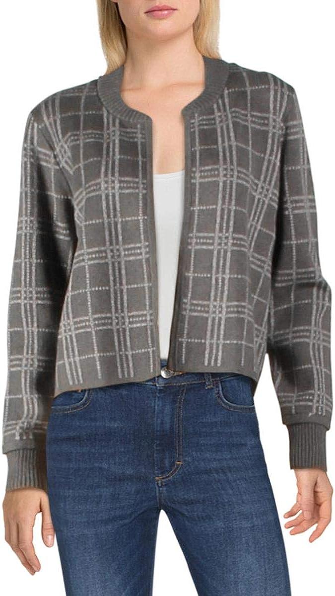 Vince Camuto Womens Window Pane Open Front Cardigan Sweater Gray XXS