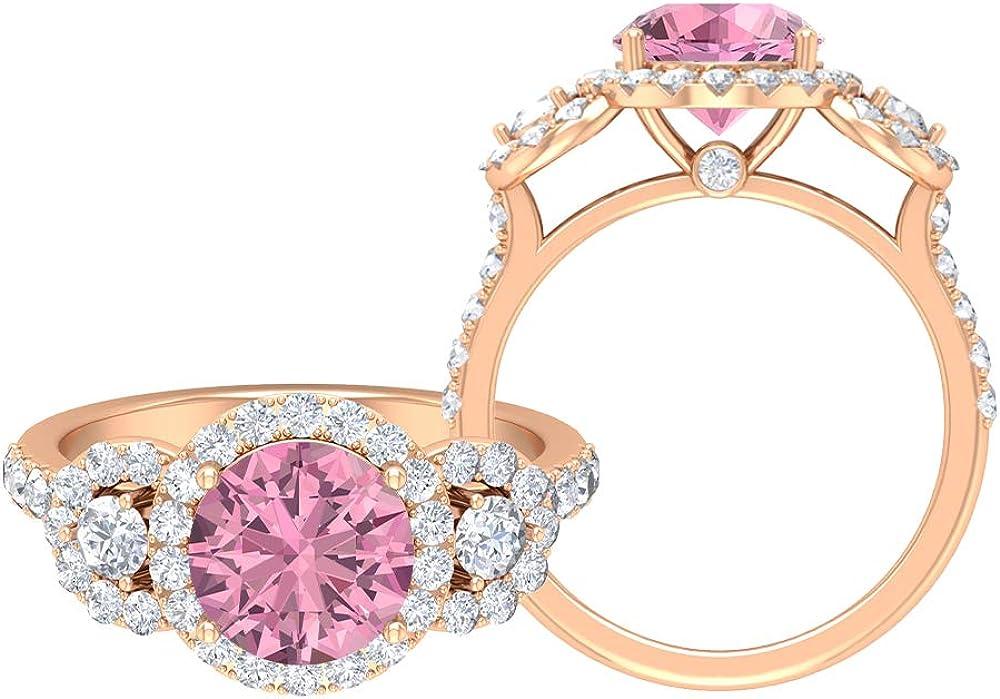 3.08 CT Pink Tourmaline Large special price Ring Halo Regular store D-VSSI Moissanite Three