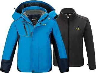 Wantdo Boy`s Ski Jacket 3 in 1 Waterproof Rain Coat Warm Fleece Jacket