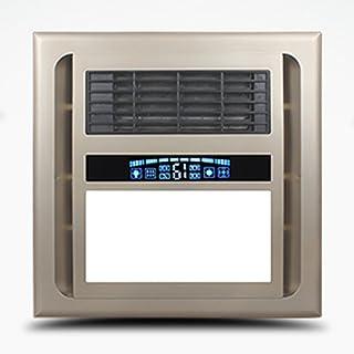 Radiador techo HWF LED Tresinone Multifunción Baño Lámpara de Calor Luces de Techo Luz Baño Ventilación de Aire Caliente Interruptor Inteligente 33 × 33 cm Calefacción (Color : Dorado)