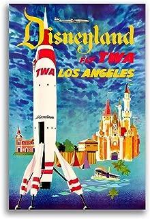 Magnet 1955 TWA Los Angeles Disneyland Vintage Style Travel Magnet Vinyl Magnetic Sheet for Lockers, Cars, Signs, Refrigerator 5