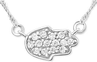 Sincerelyforyou Ensemble pendentif et boucles doreilles Main de Fatma en argent avec cristal v/éritable dans une bo/îte cadeau porte-bonheur