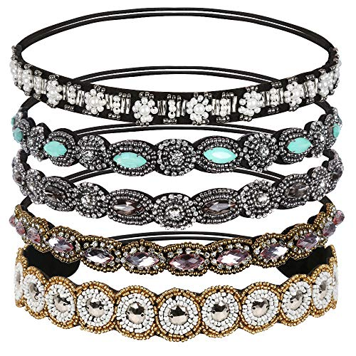 Teenitor Rhinestone Beaded Elastic Headband,...