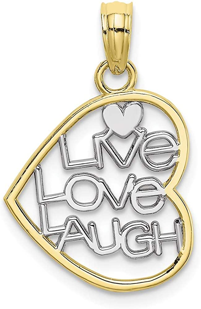 Solid 10k Yellow Gold Two Toned and LIVE LOVE LAUGH In Heart Charm Pendant