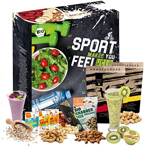 BIO advent calendar 2020 for athletes I bodybuilding I health-conscious people gift box I 24 protein-rich products I muscle building I slimming Advent season I healthy through the Advent season