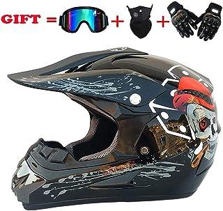 <h2>MX Erwachsene Motocross Helm Offroad Motorradhelme ATV Enduro VTT VCAN Dirt Bike Motorrad Sicherer Hut DOT Stardard Mit Handschuhen Brille Und Maske Schädel,L59~60cm</h2>