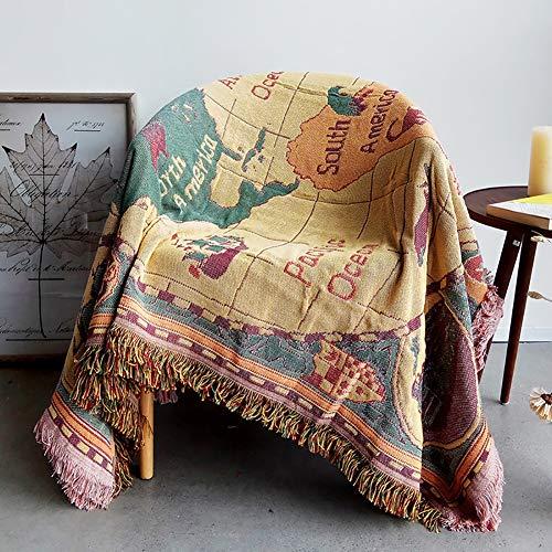 Vintage Europäische Decke, Weltkarte Muster, Personalisierte Sofa Throw Decke, rutschfeste Dicken Teppich, Sofa Cover Sofa Handtuch,130 * 180cm