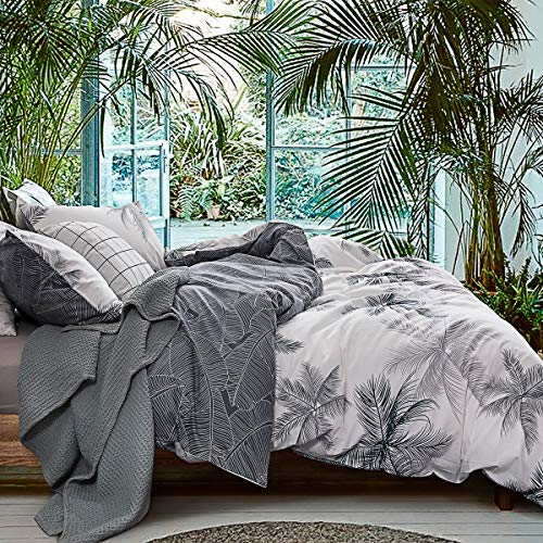 ECOCOTT 3 Pieces Duvet Cover Set Queen 100% Natural Cotton 1 Duvet Cover 2 Pillowcases,White and Dark Blue Palm Leaves Reversible Printed Pattern Soft Cozy Luxury Breathable and Durable Bedding Set